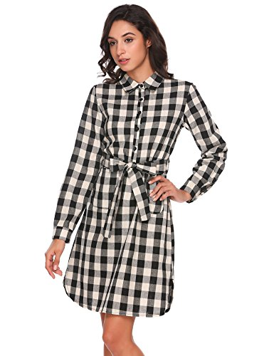 ANGVNS Damen Kariertes Hemdkleid Casual Kleid mit Umlegekragen Langarm Grau