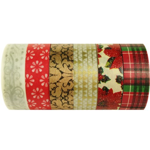 Wrapables Christmas Collection Japanisches Washi Masking Tape für SET02, 6 Stück (Masking Japanisches Tape)