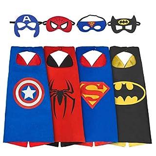 KOBWA Superhelden-Kostüm für Jungen, 4 Sets Superhelden-Kostüme für Kinder, Umhang und Maskenkostüme (3-8 Jungen-Kostüme)