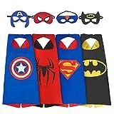 Kobwa Déguisement Super-héros pour garçon, 4Jeux Super Héros Déguisement pour Enfants, Capes et Masque Costumes (3–8garçon Costumes)