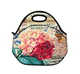 iColor Beautiful Flowers Insulated Neoprene Fashion Lunch Picnic Container Bag Box Tote Outdoor
