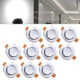 Hengda Einbaustrahler 10er pack 3W LED Kaltweiß Deckenstrahler Spot Lampe Treppe Küchen Decke Einbau Spots Strahler mit Travo Einbauleuchten IP44