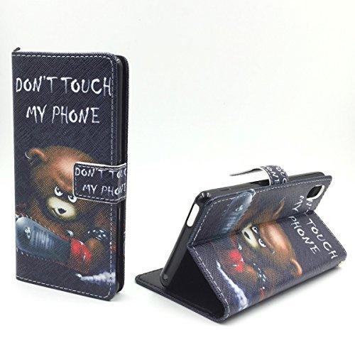 König-Shop Handy Hülle Schutzhülle Schutztasche Wallet Tasche Case Cover Etui Schale Handyhülle Handyschale Handytasche mit Standfunktion verschiedene Motive, Motiv:BÄR DONT TOUCH MY PHONE, Für Handy:ZTE Nubia Z9 Mini