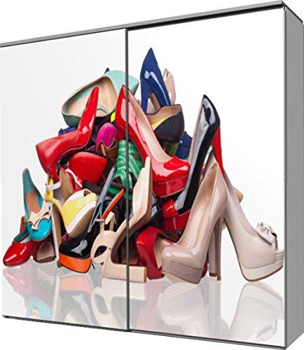fashion-cube maxi Schwebetürenschrank, Frontdesign 'Highheels Schuhe', Maße ca. 212 x 208 x 65 cm