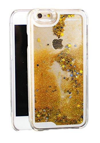 iPhone 6 6s Glitzer Schneekugel Handy-Hülle Tasche Schutzhülle Transparent Bumper Case Back Cover mit Flüssig Sternen-Staub in Silber Gold