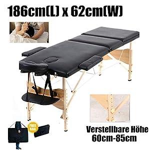 Mobile Massagebank Massageliege Massagetisch Klappbar Massagebett mit 2 Zonen höhenverstellbaren Holzfüßen Kosmetik Bank (bis 230kg belastbar)