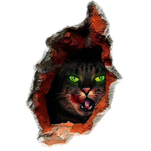 ereo Wand Aufkleber Wandbild Aufkleber schwarze Katze Halloween Monster Hintergrund Tapete Schlafzimmer Wohnzimmer Sofa WC Perspektive HD Aufkleber Wandsticker Green pigment , C (Katzen Augen Halloween)