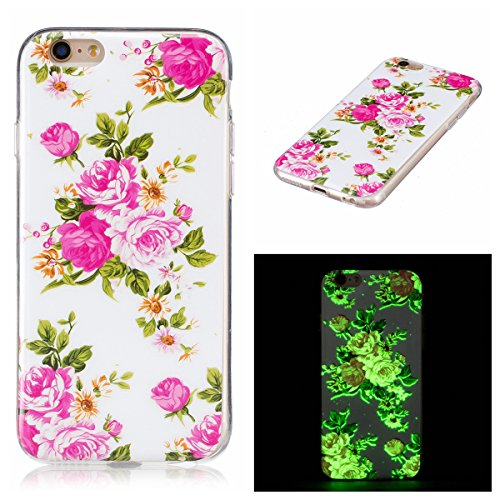 JAWSEU Coque pour iPhone 6/6S 4.7,iPhone 6S Silicone Etui Ultra Slim,iPhone 6 Soft Cover Proective Case,2017 Neuf Design Noctilucent Flash Funny Pattern Femme Homme TPU Case Ultra Mince Doux Gel Etui  Roses/Noctilucent