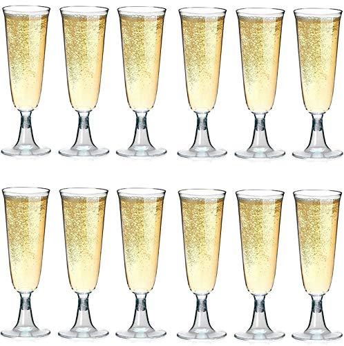 (Sektgläser Plastik 50 Stück Einweg Champagnergläser 0,1l | Bruchfest - Glasklar | Höhe 16cm | Sektglas - Sektkelche)