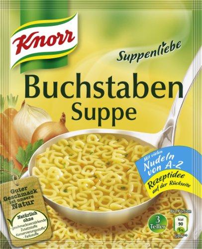 Knorr Suppenliebe Buchstaben Suppe, 14 x 3 Teller (14 x 750 ml)