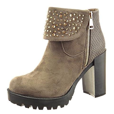 Sopily - Chaussure Mode Bottine Plateforme Cheville femmes Peau de serpent strass diamant réversible Talon haut bloc 10 CM - Taupe - CAT-3-PN1517 T 41