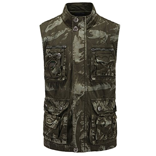 Zhuhaitf haute qualité Soft Fashionable Mens Fishing Mountain Walking Camouflage Vest Gilet Waistcoat Jacket Father Boyfriend Gift green