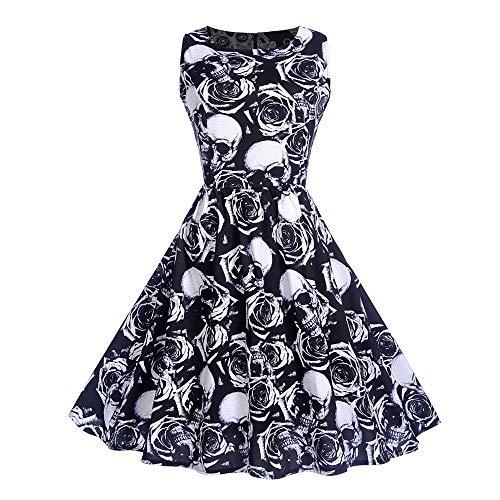 Vectry Kleider Damen Elegant Kleid 50er Retro Ärmellos -