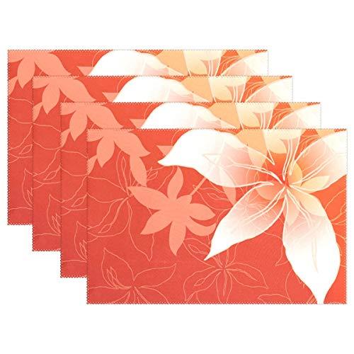 Akro 14 (Promini Hitzebeständige Tischsets, einzigartige Lilienblumen, waschbar, Polyester, Rutschfest, waschbar, Tischsets für Küche und Esszimmer, 4 Stück)