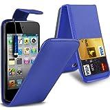 N4U Accessoires - Housse / Etui / Coque en cuir - Bleue - avec Fente pour Carte De Crédit - Pour Ipod Touch 4 d'Apple, Protection d'écran & Stylet à Haute sensibilité