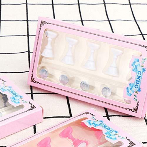 gaddrt Nagelbasis 5 Stücke Schachbrett Magnetische Nail art Tipp Kristall Stand Set Salon Display Halter (Weiß)