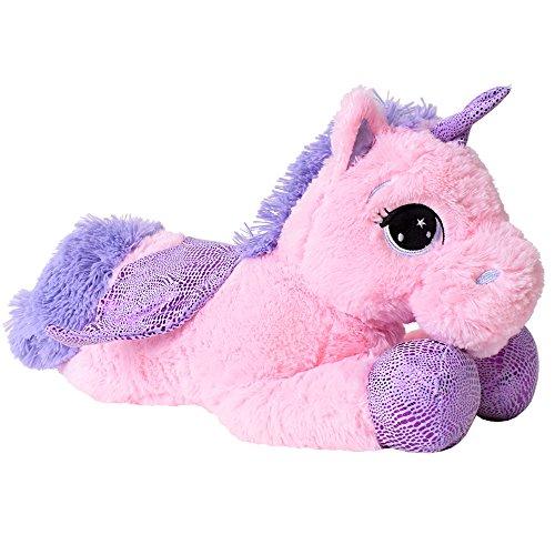 TE-Trend Plüschpferd Pferd Einhorn Unicorn Kuscheltier liegend 45cm lila Glitzerhorn große Augen pink