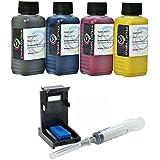 Кit recarga de cartucho HP 302, 302 XL negro y color, tinta Impresion Continua de alta calidad pesada + rellenar clips