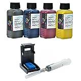Кit ricarica cartucce HP N° 62 nero e colore, Inchiostro Stampa Continua di altà qualità + refill clip immagine