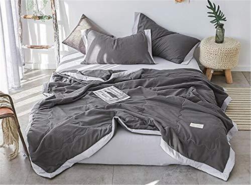 LPPWDO Sommer Quilt Übergroße Doppel Einfache Nordic Style Cotton Denim Dünne Maschine Abnehmbare Und Waschbare Klimaanlage Geschenke 180 × 220 cm Gray -