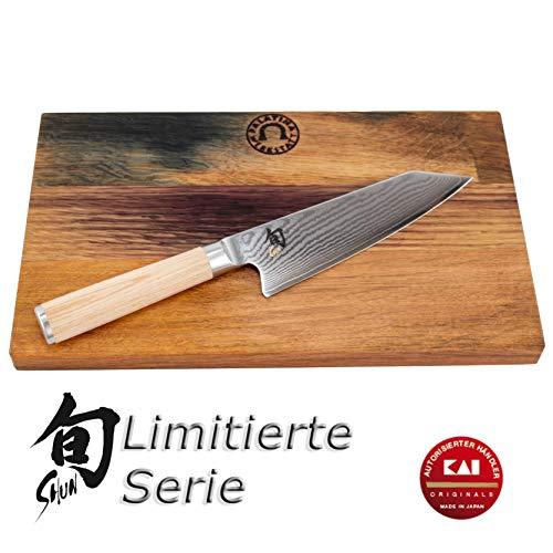 Kai Shun Classic White Kiritsuke | DM-0777W | limitiertes und nummeriertes japanisches Kochmesser | 15 cm Klinge aus Damaststahl | + limitiertes Fassholzbrett 30x18 cm | VK: 226,- € -