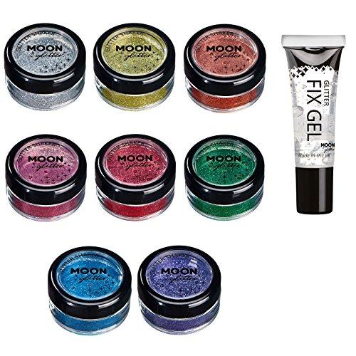 Barattolino glitter fini della Moon Glitter - 100% Cosmetico per viso, corpo, unghie, capelli e labbra - 5gr - Set di 8 colori