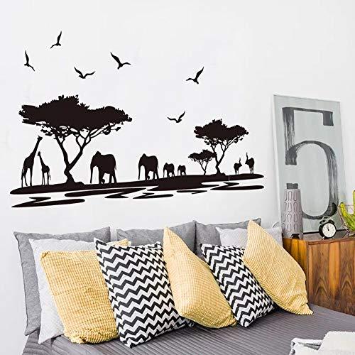 Wandsticker4u- Adesivo da parete Savana NERO | 160 x75 cm | Africa Safari  Uccelli Albero Paesaggio | autoadesivi della parete sticker adesivo da ...