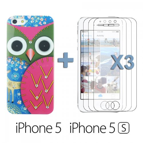 OBiDi - Peinture de hibou rigide affaire avec Rhinestone de diamant / Housse pour Apple iPhone SE / Apple iPhone 5S / 5 - Rouge avec 3 Film de Protection et Stylet Rouge
