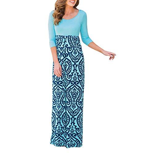 Manadlian Damen Sommerkleid, Frauen Drucken Lang Boho-Kleid Dame Strand Sommer Maxi-Kleid