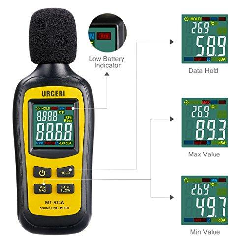 URCERI Schallpegelmessgerät - Digital Sound Level Meter Lärm-/ db-Messgerät mit Messbereich 35dB - 135dB, Max / Min / Haltedaten, Temperaturmesser und LCD-Display, inkl. Batterie - 2