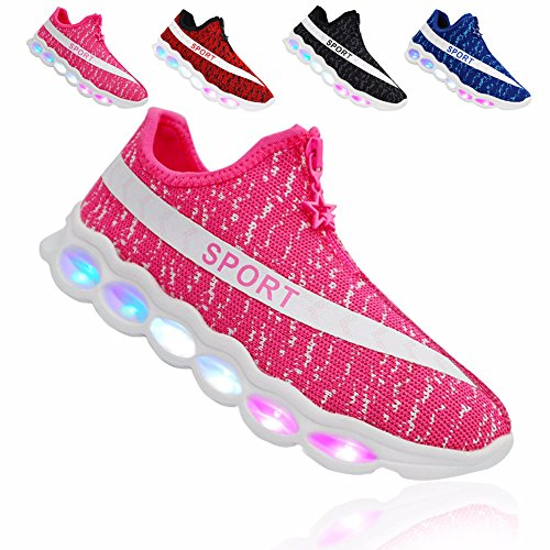 he für Kinder USB Aufladen Blinkschuhe Mädchen Jungen Blinkende Leuchtende Light Up Low Top Sneakers Rose EU36 (Einfache Spaß-halloween-spiele)