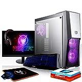 Fierce Raptor RGB Gaming PC Bundeln - Schnell 6 x 4.8GHz Hex-Core Intel Core i5 8600K, All-In-One Flüssigkühler, 240GB Solid State Drive, 1TB Festplatte, 16GB von 2666MHz DDR4 RAM / Speicher, AMD Radeon RX 580 8GB, Gigabyte Z370 HD3 Hauptplatine, Cooler Master MasterBox MB500 RGB Computergehäuse, HDMI, USB3, Wi - Fi, VR Bereit, Perfekt für High-End-Spiele, Windows 10 installiert, Tastatur (QWERTZ), Maus, 24-Zoll-Monitor, Headset, 3 Jahre Garantie 1042894