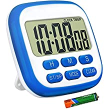 TopElek Kitchen Timer, Digital Timer for Kitchen with Larger LCD Display and Loud Alarm and Countdown Function, Retractable Stand and Hook and Magnetic Backing (Blue with Battery)