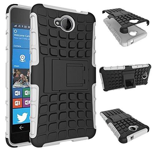 Qiaogle Teléfono Case - Shock Proof TPU + PC Hibrida Stents Carcasa Cover para Microsoft Lumia 650 / Lumia 650 Dual-SIM (5.0 Pulgadas) - HH05 / Blanco