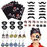 FORMIZON 48 Piezas Fiesta Pirata Accesorios, Pirata Accesorios, Bandera Pirata Capitán Traje Set,...