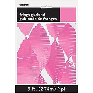 Unique Party Guirnalda de flecos de papel de seda Color rosa oscuro 274 cm 63637