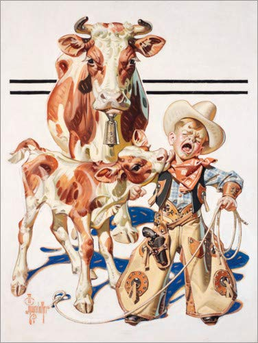 Posterlounge Acrylglasbild 120 x 160 cm: Der kleine Cowboy Wird abgeleckt von Joseph Christian Leyendecker - Wandbild, Acryl Glasbild, Druck auf Acryl Glas Bild (Joseph Kostüm Männer)