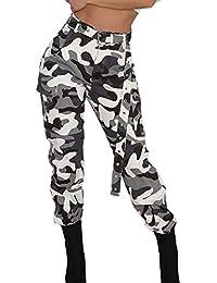 STRIR 2018 Moda Pantalones de Mujer Camo Cargo Pantalones de Camuflaje Casual al Aire Libre Jeans
