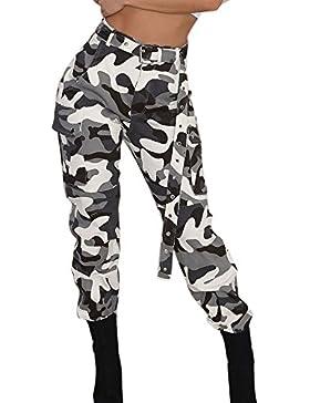 Longra Pantalones de Camo Cargo para Mujer Pantalones Casuales Pantalones de Camuflaje para ejército Militar Combat
