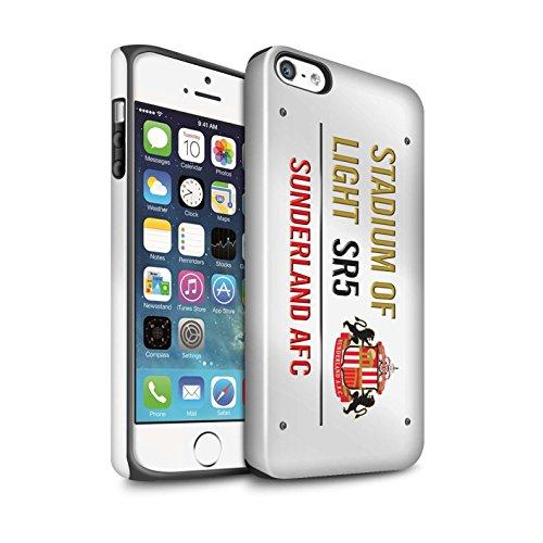 Offiziell Sunderland AFC Hülle / Glanz Harten Stoßfest Case für Apple iPhone 5/5S / Pack 6pcs Muster / SAFC Stadium of Light Zeichen Kollektion Weiß/Gold