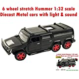 Toy-Station - Die CAST Metal Play Set - Perfect Toy Set For Kids (6 Wheel Stretch Hummer CAR 1:32 Scale Diecast Metal With Light & Sound - Black)
