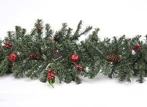"""72"""" Ghirlanda di Natale verde con bacche e pigne (PM44)"""