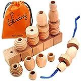 25 Natural Wood Blocks Lacing Beads - Montessori Materials Preschool Toys Waldorf Motor Skills Stack