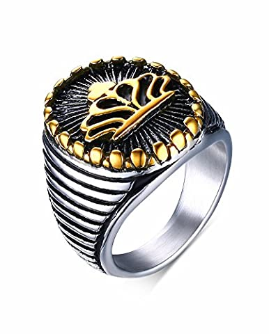 Vnox Men's Antique Stainless Steel King Crown Signet Band Ring Silver Gold,UK Size R 1/2