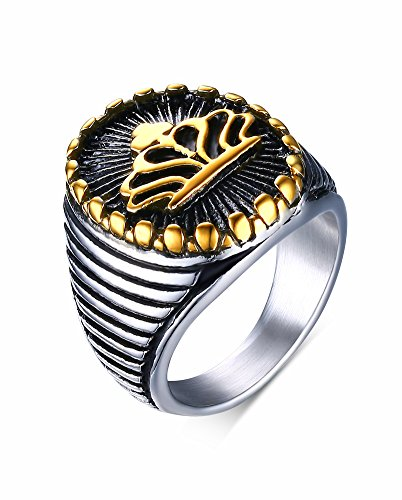 Vnox Antikes Edelstahl König Kronen Siegel Band Ring Silber Gold der Männer,Größe 64 (20.4)