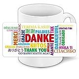 Danke-Tasse mit schönem Motiv in vielen Sprachen