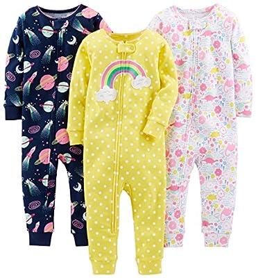 Simple Joys by Carter's 3-Pack Snug Fit Footless Cotton Pajamas Bebé-Niñas