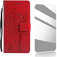 Huawei P10 Plus Case,THRION Premium Leather Flip Case [Card Slot][Free Tempered Glass Screen Protector] PU-Leather Case for Huawei P10 Plus - Red