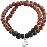 Fourseven Double Layer Rudraksh Bracelet with Om Charm in Silver for Men & Boys