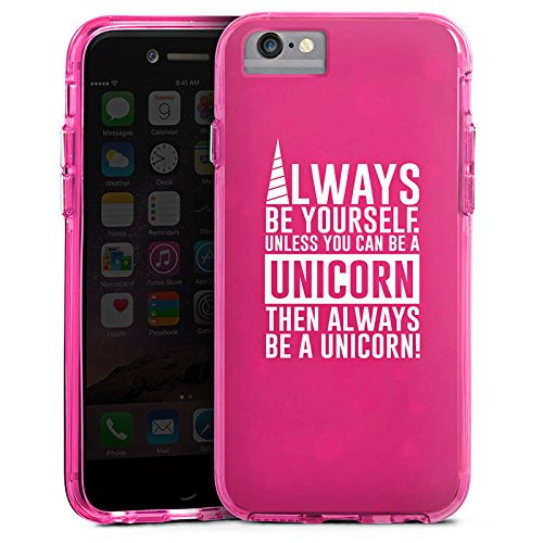 Apple iPhone 6 Bumper Hülle Bumper Case Glitzer Hülle Einhorn Unicorn Sprüche Spruch Statement Bumper Case transparent pink